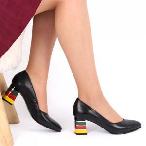 Pantofi cu toc Cod din piele naturală S20 Negri - Pantofi cu toc din piele naturală moale  Toc cu model deosebit de frumos  Acești pantofi vă conferă lejeritate și eleganță - Deppo.ro