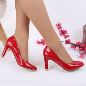 Pantofi cu toc cod EK0007 Roși - Pantofi cu toc din piele ecologică cu un design unic. Fii în pas cu moda şi străluceşte la următoarea petrecere. - Deppo.ro