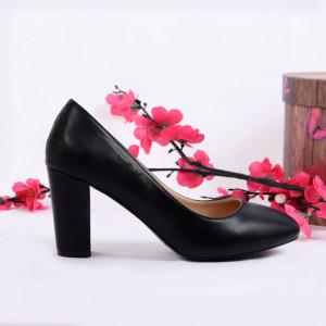 Pantofi cu toc cod EK0010 Negri - Pantofi cu toc din piele ecologică cu un design unic. Fii în pas cu moda şi străluceşte la următoarea petrecere. - Deppo.ro