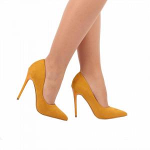 Pantofi cu toc cod EK0096 Galbeni