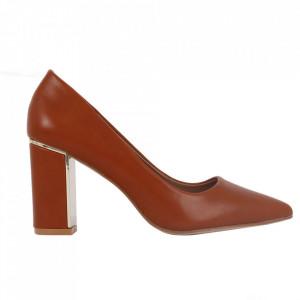 Pantofi cu toc cod EK0502 Camel