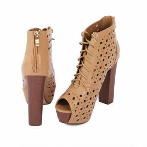 Pantofi cu toc cod JB203 Camel - Pantofi cu toc lung și platformă, din piele ecologică perforată, design dantelat foarte confortabili datorită calapodului comod - Deppo.ro