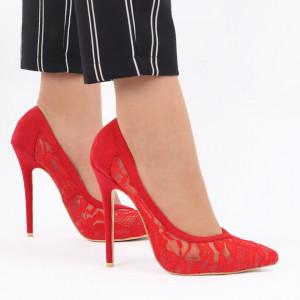Pantofi cu toc cod O13 Roși - Pantofi din piele ecologică întoarsă în combinație cu material tip dantelă - Deppo.ro