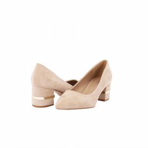 Pantofi cu toc cod OD0080 Bej - Pantofi cu toc gros din piele ecologică întoarsă cu un design unic  Model deosebit de frumos pe toc Fi in pas cu moda si străluceste la urmatoarea petrecere.Pantofi cu toc gros din piele ecologică întoarsă cu un design unic, fii in pas cu moda si străluceste la urmatoarea petrecere. - Deppo.ro
