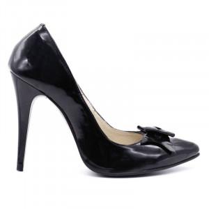 Pantofi cu toc cod R009 Negri - Pantofi din piele naturală lăcuită cu toc subţire, confortul purtării este sporit de tălpicul din piele - Deppo.ro