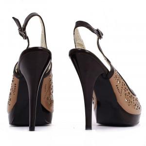 Pantofi cu toc cod TN0036 Maro - Pantofi cu toc înalt și platformă, din piele ecologică perforată - Deppo.ro