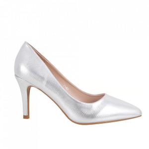 Pantofi cu toc din piele ecologică cod C-58 Silver