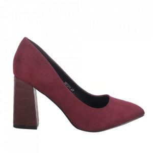 Pantofi cu toc din piele ecologică cod OD0264 Winered