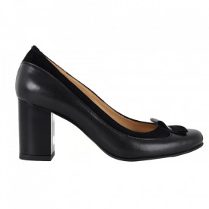 Pantofi cu toc din piele naturală cod 1052 BN+VN