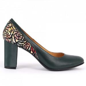 Pantofi cu toc din piele naturală Cod 319V Verzi