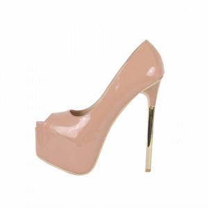 Pantofi Cu Toc Jadyn Nude - Pantofi bej cu toc și platformă foarte înalte pentru dame care vă pot completa o ținută fresh în acest sezon. Incalțî-te cu această pereche de pantofi la modă și asorteaz-o cu pantalonii sau fusta preferată pentru a creea o ținută deosebită. - Deppo.ro