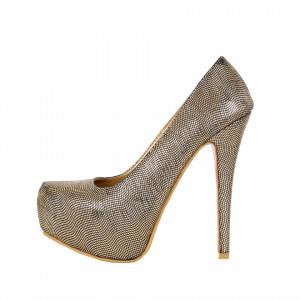 Pantofi Cu Toc Linn Gold - Pantofi cu toc și platformă foarte înalte pentru dame care vă pot completa o ținută fresh în acest sezon. Incalțî-te cu această pereche de pantofi la modă și asorteaz-o cu pantalonii sau fusta preferată pentru a creea o ținută deosebită. - Deppo.ro