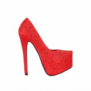 Pantofi Cu Toc Makenna Red - Pantofi cu toc și platformă foarte înalte pentru dame care vă pot completa o ținută fresh în acest sezon. Incalțî-te cu această pereche de pantofi la modă și asorteaz-o cu pantalonii sau fusta preferată pentru a creea o ținută deosebită. - Deppo.ro