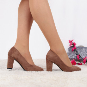 Pantofi Cu Toc Miley Khaki