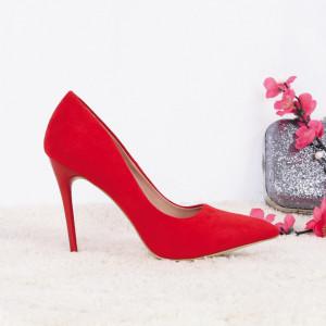 Pantofi Cu Toc Mylie Red - Pantofi cu toc ascuțit din piele ecologică întoarsă cu un design unic . Fi in pas cu moda si străluceste la urmatoarea petrecere. - Deppo.ro