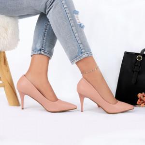 Pantofi Cu Toc Nayeli Pink - Pantofi cu toc din piele ecologică cu un design unic. Fii în pas cu moda şi străluceşte la următoarea petrecere. - Deppo.ro