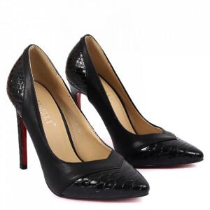Pantofi cu toc pentru dame cod LX1101 Black - Pantofi cu toc pentru dame din piele ecologică lăcuită  Conferă lejeritate și eleganță - Deppo.ro