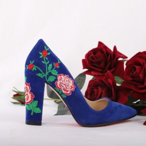 Pantofi Cu Toc Shea Blue - Pantofi cu toc din piele ecologică cu un design unic. Fii în pas cu moda şi străluceşte la următoarea petrecere. - Deppo.ro