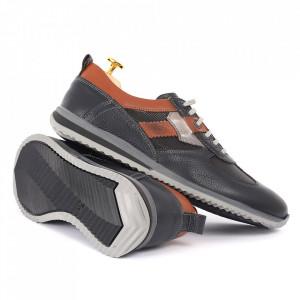 Pantofi din piele naturală albastri cod 6545 - Pantofi pentru bărbaţi din piele naturală cu şiret, model simplu, finisaje îngrijite cu un design deosebit - Deppo.ro