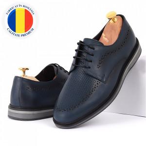 Pantofi din piele naturală albaştri cod 77131