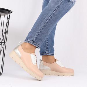 Pantofi din piele naturală bej Cod 481