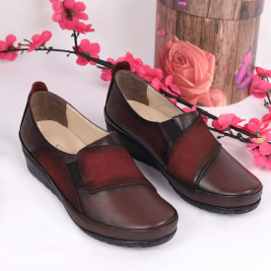 Pantofi din piele naturală bordo Cod 1061 - Pantofi damă din piele naturală Închidere cu şiret Calapod comod - Deppo.ro