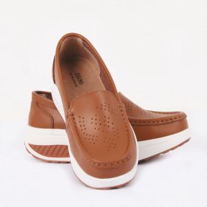 Pantofi din piele naturală Cierra Camel