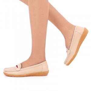 Pantofi din piele naturală cod 1117 Bej - Pantofi bej pentru dame din piele naturală cu talpă flexibilă - Deppo.ro
