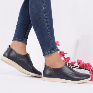 Pantofi din piele naturală cod 119422 Bleumarin