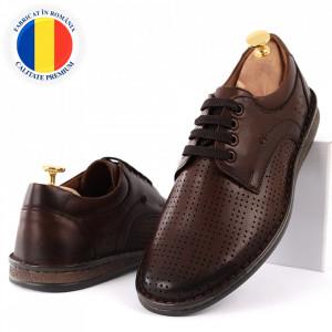 Pantofi din piele naturală Cod 169169 Maro