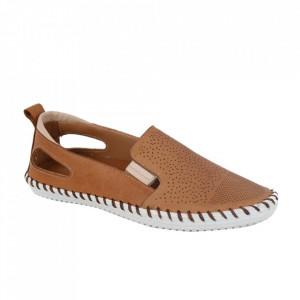 Pantofi din piele naturală cod 30107 Maro