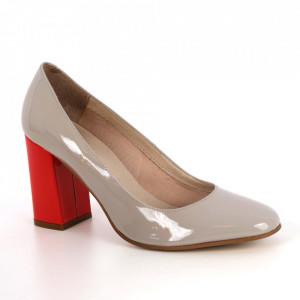 Pantofi din piele naturală cod 37060 Grey