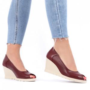Pantofi din piele naturală cod 55672 Visiniu