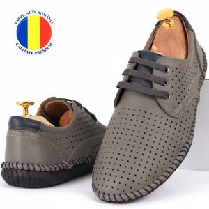 Pantofi din piele naturală Cod 623 Gri