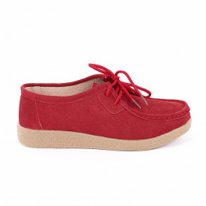 Pantofi din piele naturală cod 85171 Roși - Pantofi roșii pentru dame din piele naturală cu talpă flexibilă - Deppo.ro