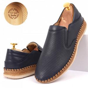 Pantofi din piele naturală cod 85229 Bleumarin închis