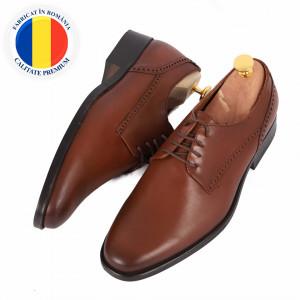 Pantofi din piele naturală cod 8547 Maro