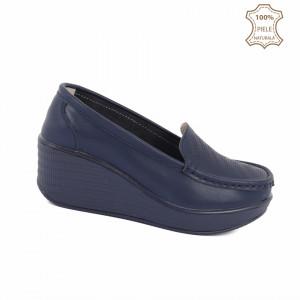 Pantofi din piele naturală cod H1789 Navy - Pantofidin piele naturală pentru dame, talpă foarte comodă. - Deppo.ro
