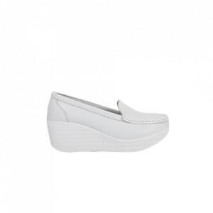 Pantofi din piele naturală cod H1789 White - Pantofi din piele naturală pentru dame.  Talpă flexibilă și un calapod comod. - Deppo.ro