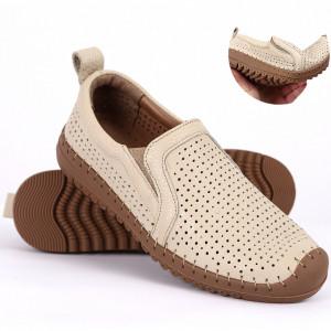 Pantofi din piele naturală Cod T485 Bej