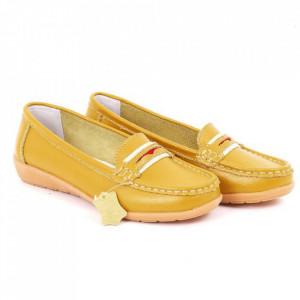 Pantofi din piele naturală Cod Z858 Galbeni