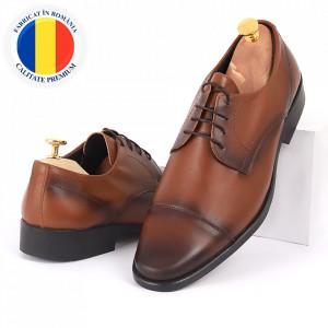 Pantofi din piele naturală maro cod 3286
