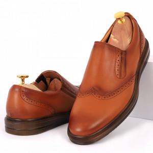 Pantofi din piele naturală maro deschis cod 92423 N-D