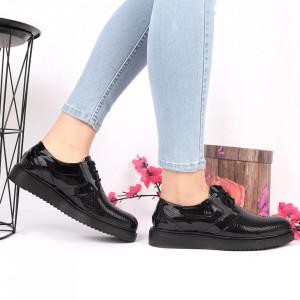 Pantofi din piele naturală negri Cod 24905 - Pantofi damă din piele naturală Închidere cu şiret Calapod comod - Deppo.ro