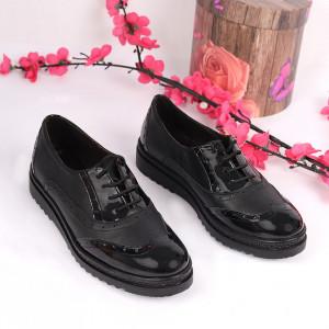 Pantofi din piele naturală negri Cod 2498