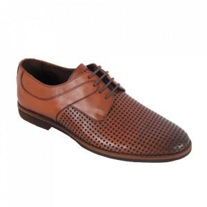 Pantofi din piele naturală pentru bărbați cod 143 Taba
