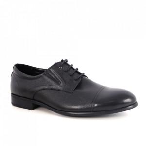 Pantofi din piele naturală pentru bărbați cod 1501-N Black