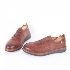 Pantofi din piele naturală pentru bărbați cod 331 Maro - Pantofi din piele naturală moale pentru bărbați Model simplu, finisaje îngrijite - Deppo.ro