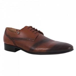 Pantofi din piele naturală pentru bărbați cod 730 Maro