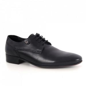 Pantofi din piele naturală pentru bărbați cod 730 Negru